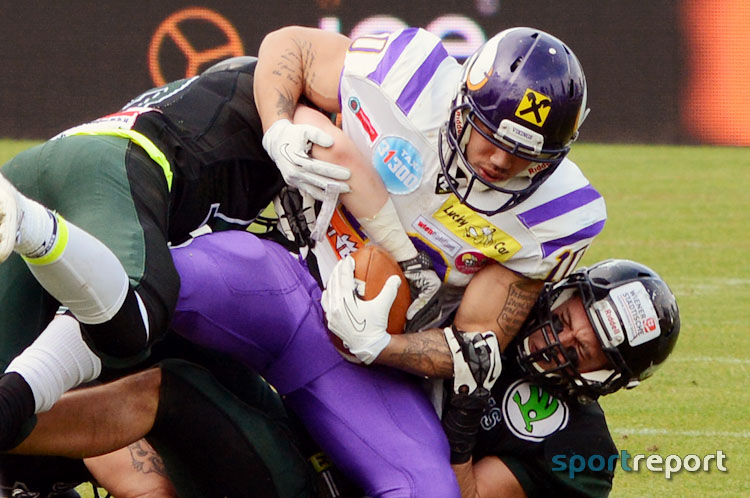 Vienna Vikings vs Danube Dragons - Grün-Violettes Stadtduell im Football Zentrum Ravelin