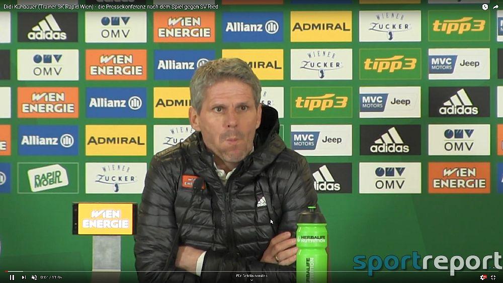 Video: Didi Kühbauer (Trainer SK Rapid Wien) - die Pressekonferenz nach dem Spiel gegen SV Ried