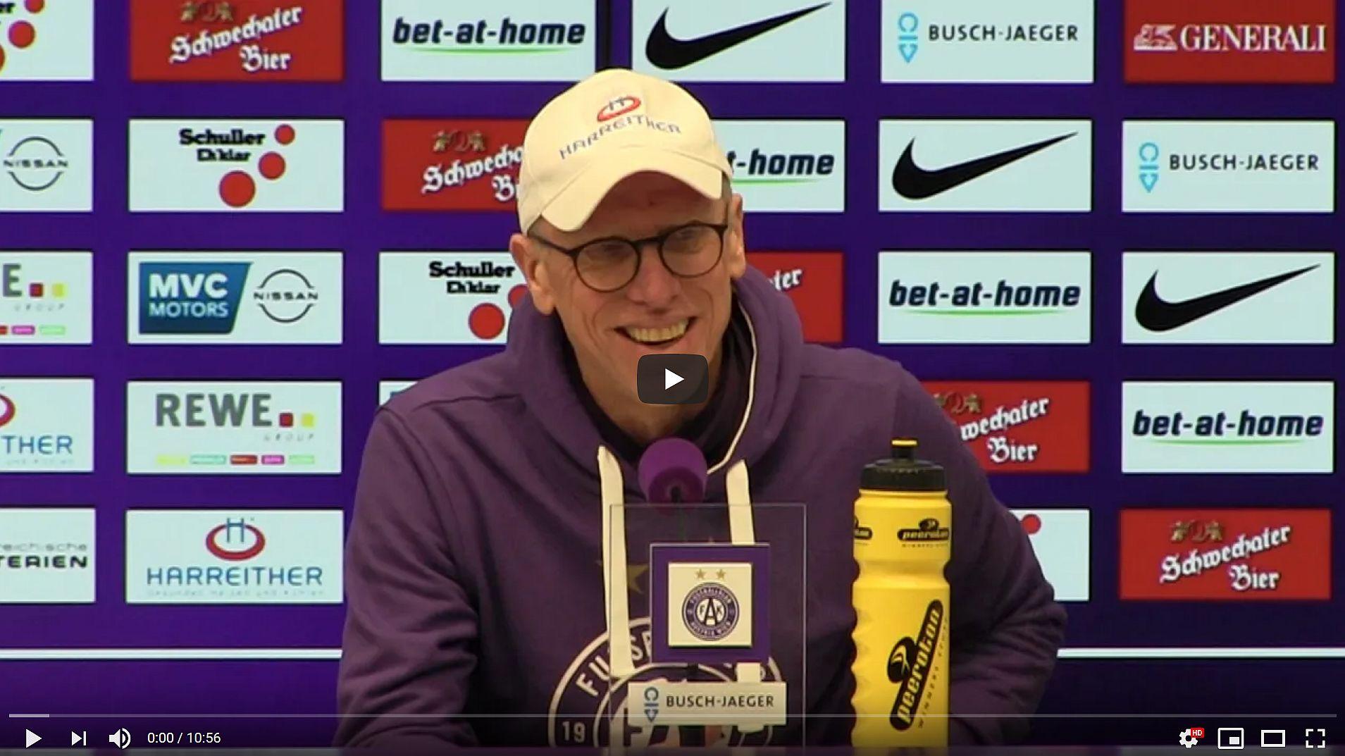 Video: Peter Stöger (Trainer FK Austria Wien) - die Pressekonferenz nach dem Spiel gegen SK Rapid Wien