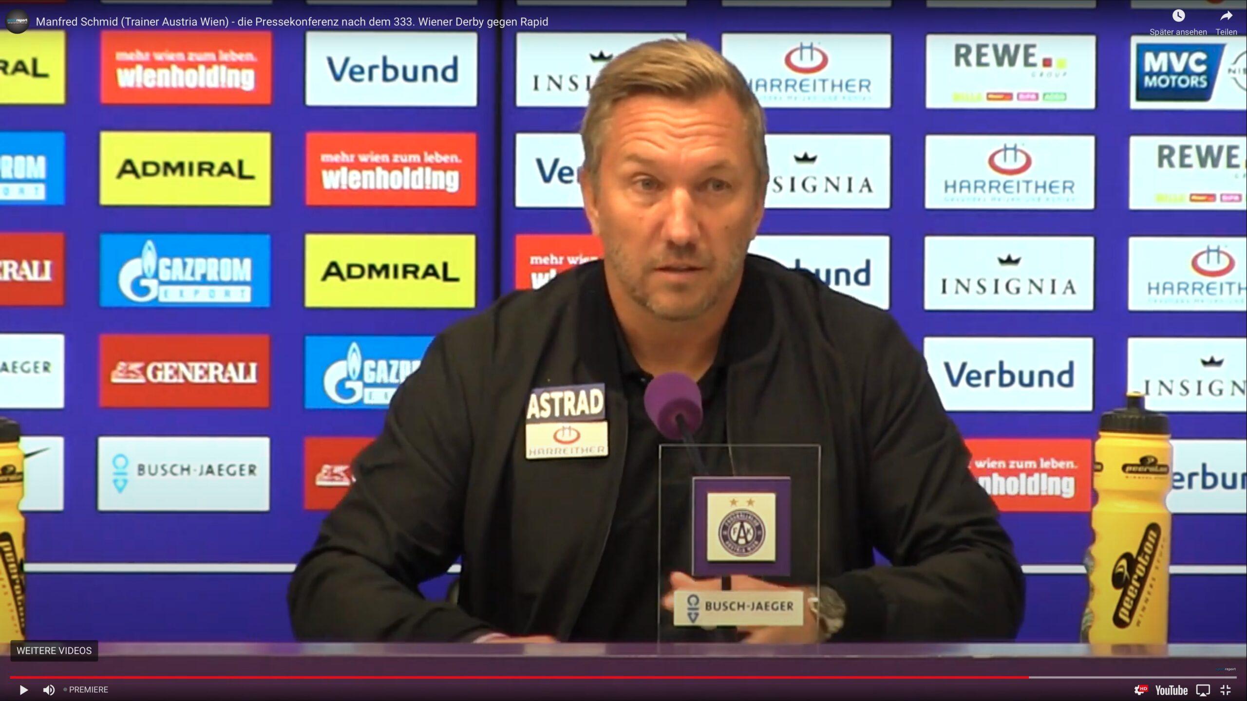 Video: Manfred Schmid (Trainer FK Austria Wien) - die Pressekonferenz nach dem Spiel gegen SK Rapid Wien