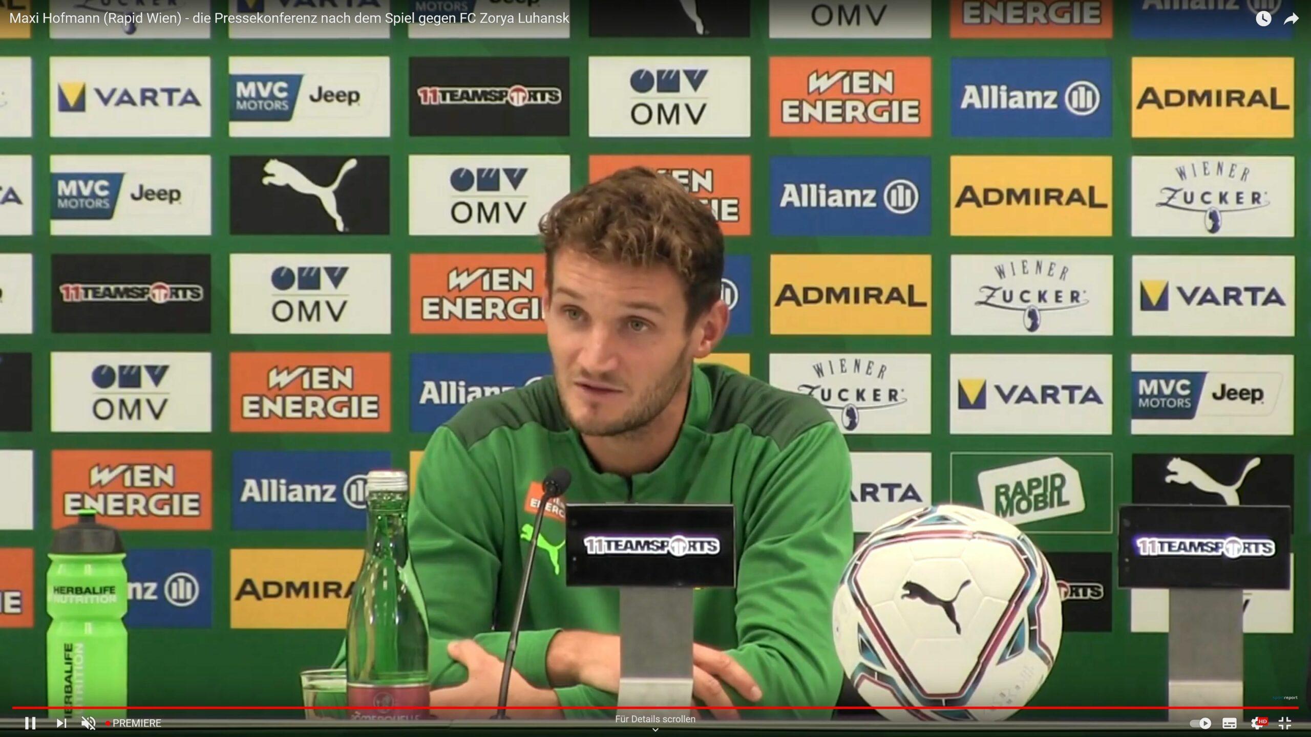 Video: Maxi Hofmann (Trainer SK Rapid Wien) - die Pressekonferenz nach dem Spiel gegen Sorja Luhansk