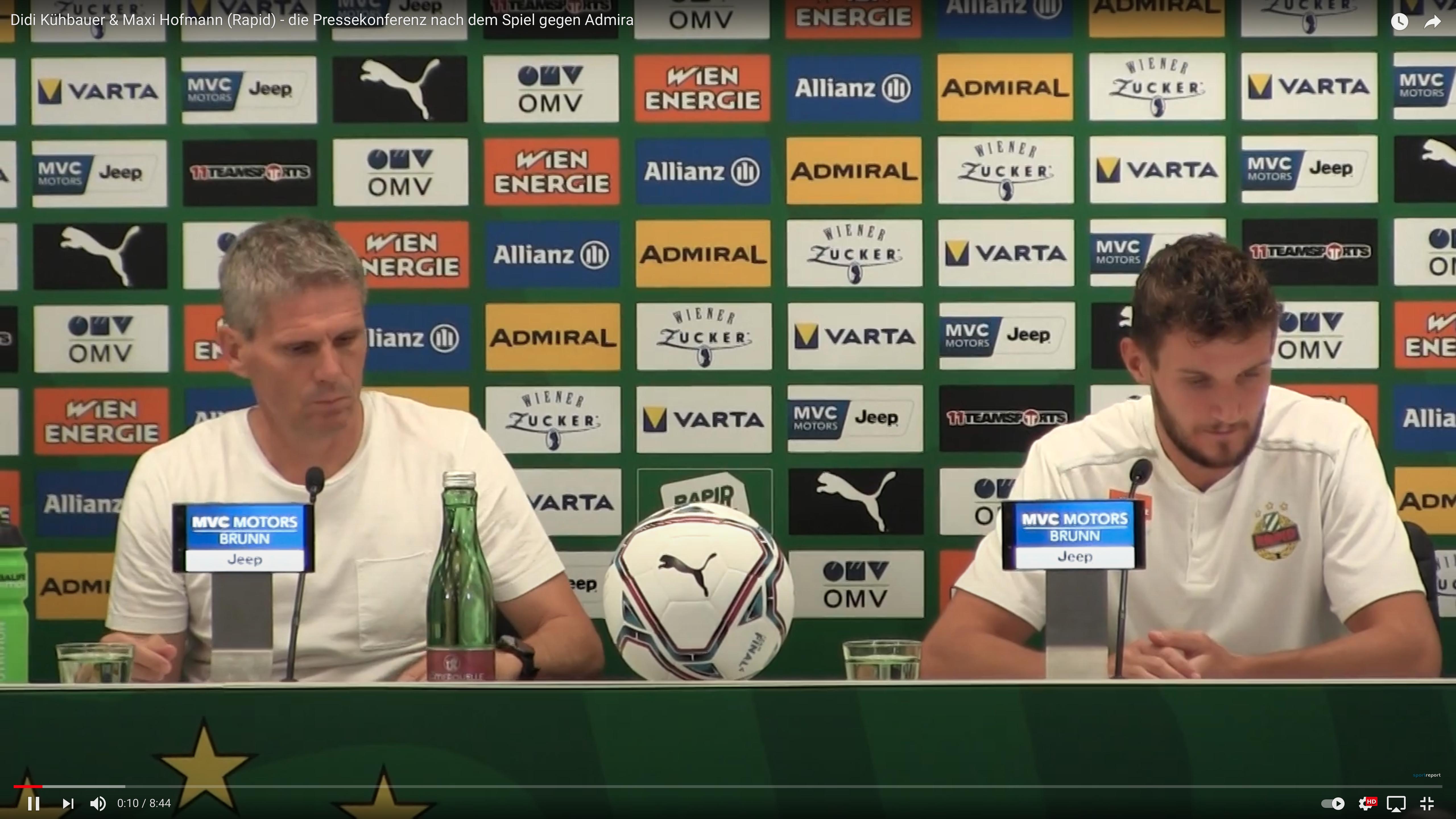Video: Didi Kühbauer (Trainer SK Rapid Wien) - die Pressekonferenz nach dem Spiel gegen FC Flyeralarm Admira