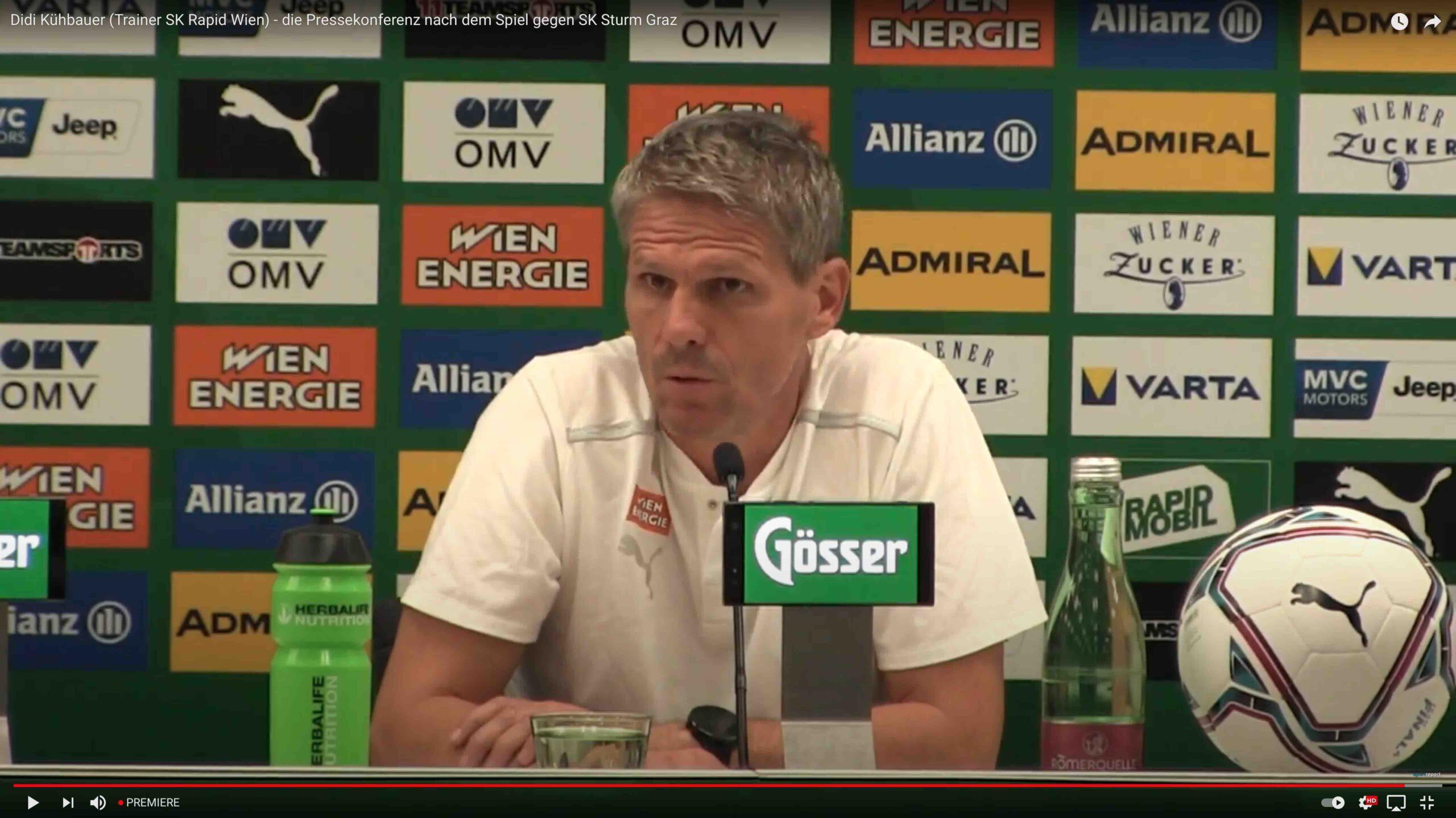 Video: Didi Kühbauer (Trainer SK Rapid Wien) - die Pressekonferenz nach dem Spiel gegen SK Sturm Graz