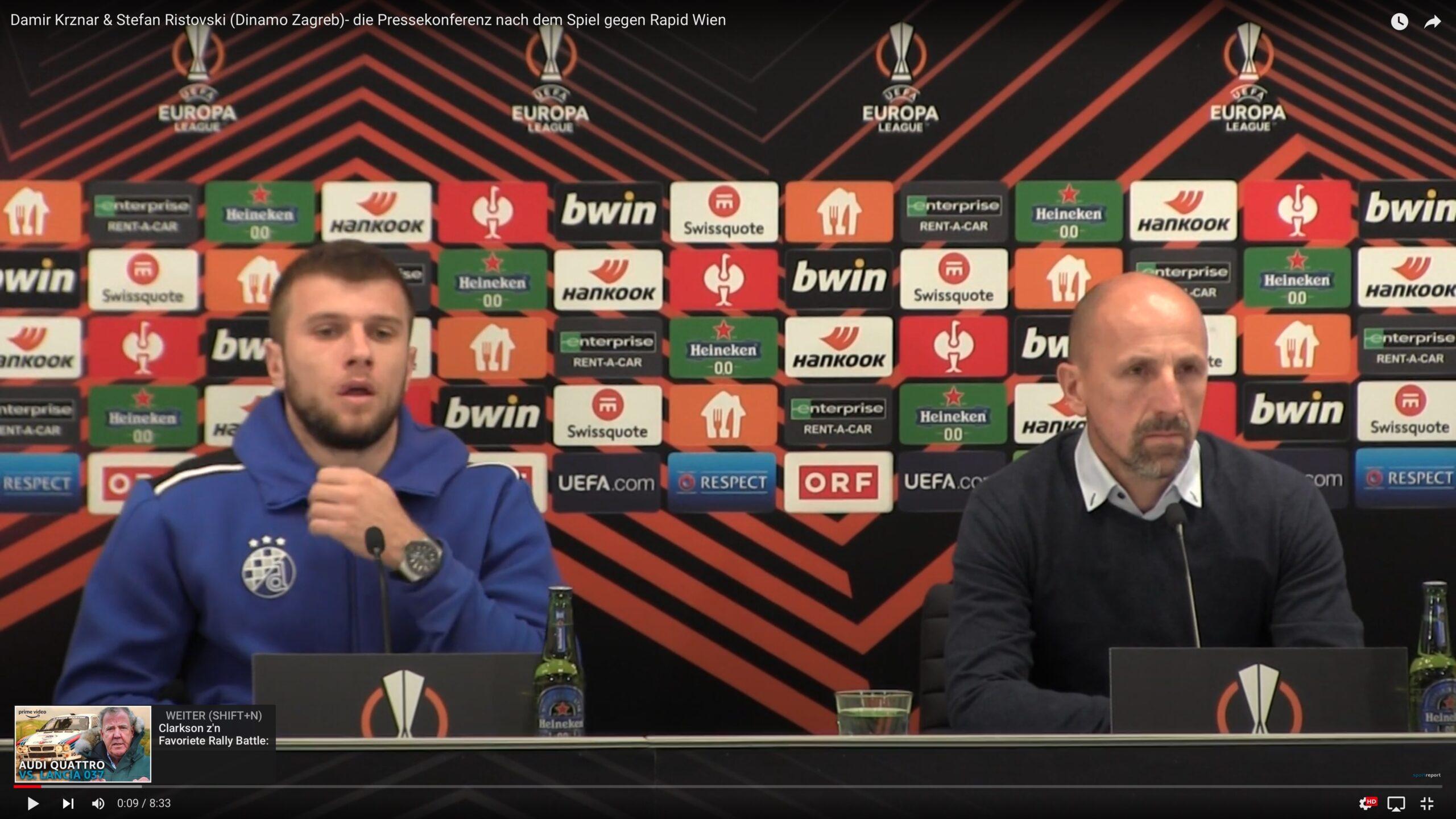 Video: Damir Krznar (Trainer Dinamo Zagreb) - die Pressekonferenz nach dem Spiel gegen SK Rapid Wien