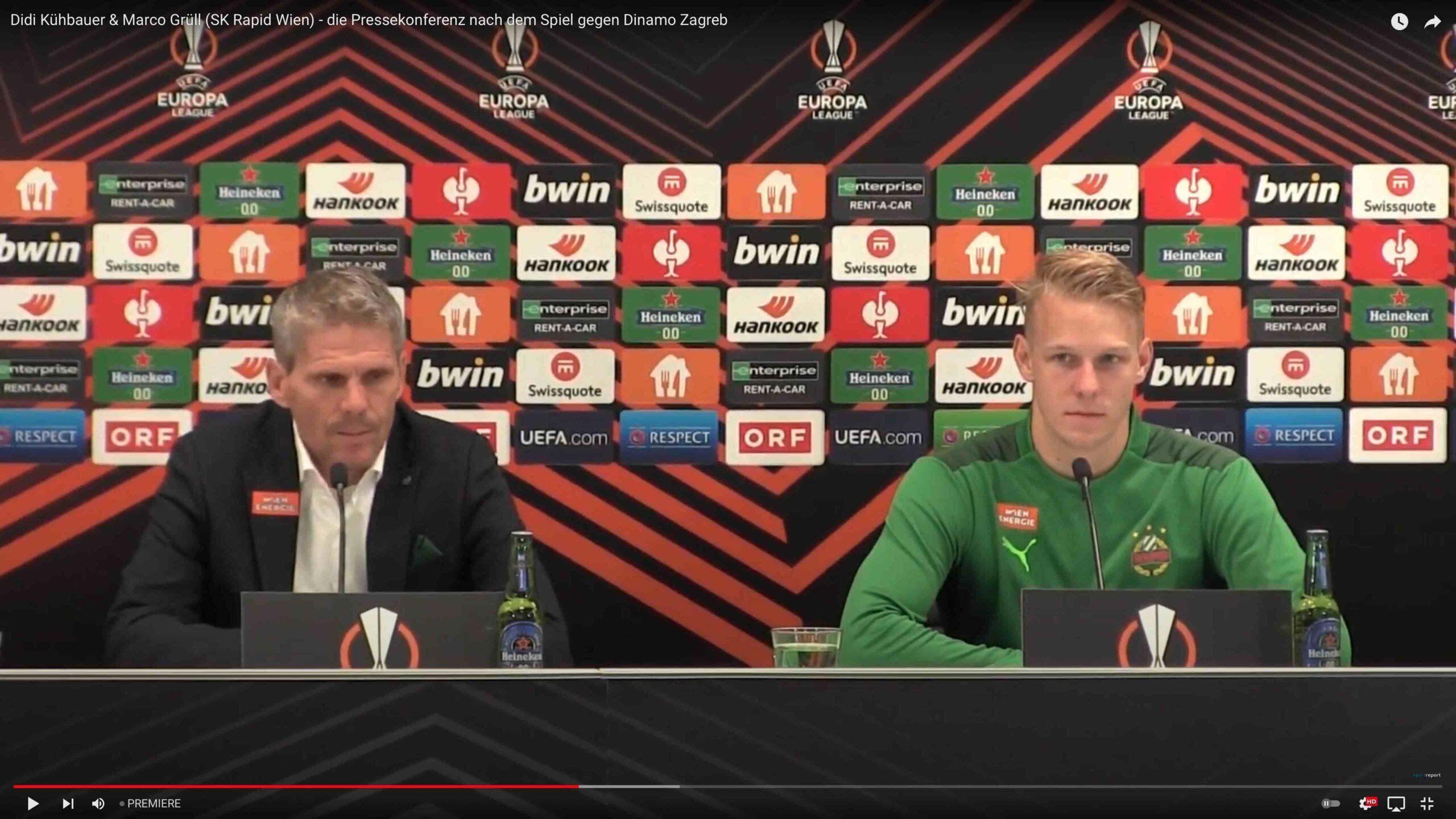 Video: Didi Kühbauer (Trainer SK Rapid Wien) - die Pressekonferenz nach dem Spiel gegen Dinamo Zagreb
